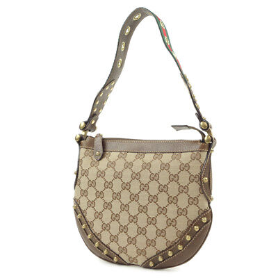 Authentic GUCCI GG Canvas Leather Studs Shoulder Bag Beige 144157 Used F/S