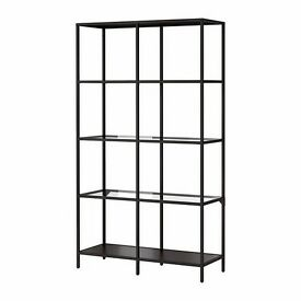 2 black IKEA VITTSJÖ glass shelving units in perfect condition