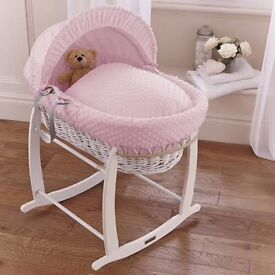 Clair De Lune dimples Pink Moses basket White wicker comes with White Clair De Lune rocking stand