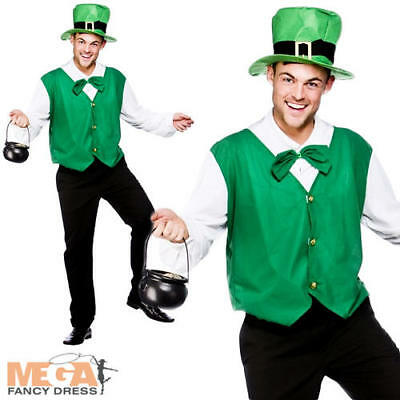 Lucky Leprechaun + Hat Mens Fancy Dress Up St Patricks Day Adult Irish Costume