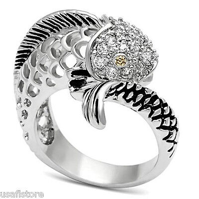 Fish Champagne Eyes CZ Stones Silver Rhodium EP Ladies Ring Size 5