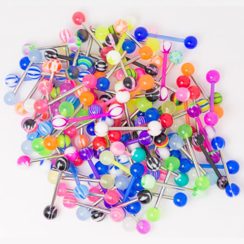 "50PC Tongue Rings Body Jewelry Barbells Mix 14g 5/8"" 16mm"