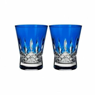 Waterford Lismore Pops Cobalt Double Old Fashioned DOF Pair # 40019536 New Waterford Lismore Double Old Fashioned