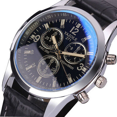 Fashion Men's Black Leather Stainless Steel Military Sport Quartz Wrist Watch