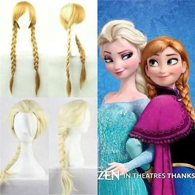 Anime Lolita Wavy Frozen ice Romance Elsa Anna Princess Cosplay Hair Wigs New FV