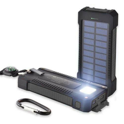 Solar Power Bank 20,000mAh Portable Dual USB External Waterp