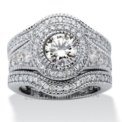 Women Silver Huge White/Pink Sapphire Gem Ring Set Wedding Jewelry Size 6-10