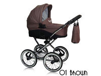BROWN 4in1 RETRO TRAVEL SYSTEM PRAM+PUSHCHAIR+CAR SEAT+RAINCOVER+APRON+NAPPY BAG