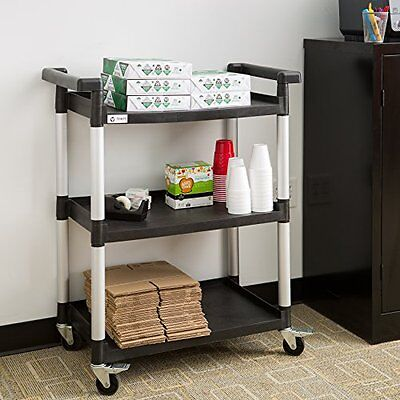 3 Tier Shelf Utility Cart With Wheels Swivel Casters Garage Office Kitchen Tools