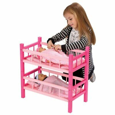 Dolls Wooden Wood Pink Bunk Bed Cot Crib & Bedding Set Kids Pretend Play Toy NEW