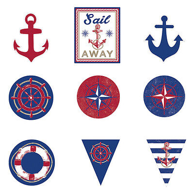 SUMMER Nautical Anchors Aweigh CUTOUT DECORATIONS (12) ~ Birthday Party Supplies - Nautical Supplies