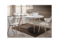 NEW YEAR **RRP £399** High Gloss Oval 4 Seater Dining Set, 4 Chairs White & Natural Solid Rubberwood