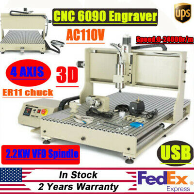 2200w 4axis 6090 Cnc Router Usb Metal Engraver Woodworking Engraving Drill Kit