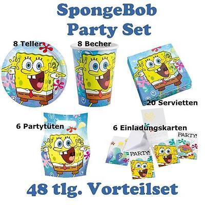 48 teiliges Party Set SPONGE BOB Kindergeburtstag, Teller Servietten Becher ()
