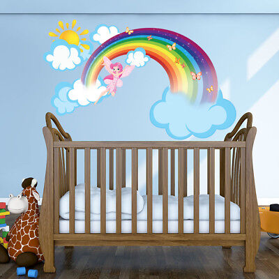 Rainbow Fairy Wall Decal With Clouds And Sun   Girls Room Wall Decal  Nursery