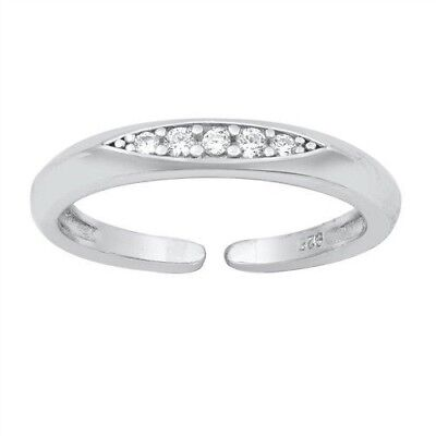 Toe Ring Genuine Sterling Silver 925 Clear CZ Polished Jewelry Face Height 3 mm Polished Toe Ring