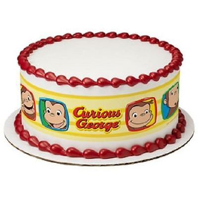 Curious George Edible Cake Border Strips Designer Prints Curious George Cake Topper