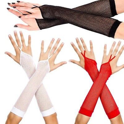 Sexy Goth Punk Elbow Length Fishnet Fingerless Gloves Arm Warmers w/ Finger Loop