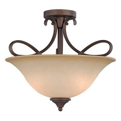 Bennington Antique Bronze 3 Light Semi Flush Light Fixture #100892