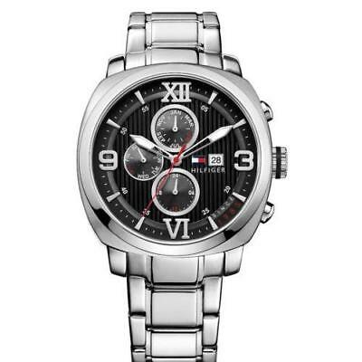 New Tommy Hilfiger Steel MultiFunction 24 Hour Men Dress Watch 45mm 1790981 $155 ()