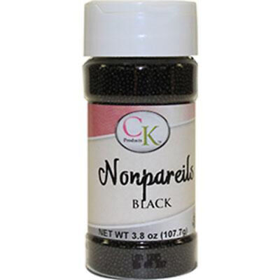 Black NonPareils 107gm Sprinkles for Cupcakes, Cookies, Chocolates & Candy (Black Sprinkles For Cupcakes)
