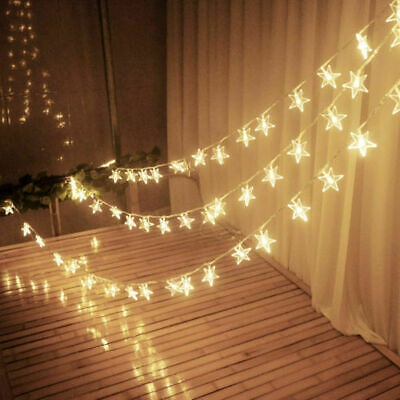 US Warm White LED String Star Fairy Lights Home Bedroom NewYear Party Decoration (Star String Lights)