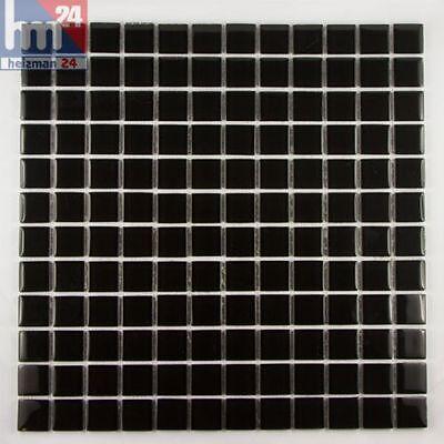 Mosaik Black Stone Glas Fliese / Matte 29,5 x 29,5 x 0,4 cm
