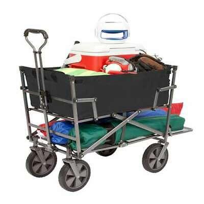Mac Sports Steel Double Decker Collapsible Yard Cart Wagon,