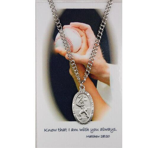 St Christopher Boys Baseball Sports Medal on Chain w Prayer