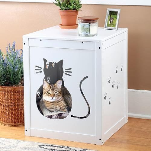 ETNA Cat Kitty Litter Box Hide Away End Table Cabinet Nig...