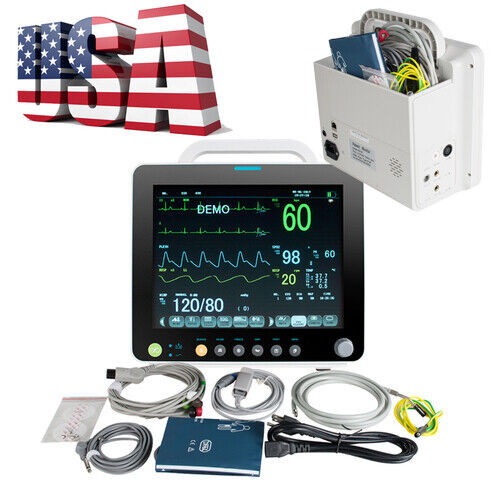"12"" Vital Sign Patient Monitor NIBP SPO2 ECG,PR,TEMP Monitor ALARM +CUFFS"