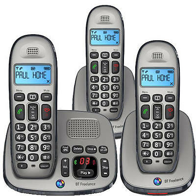 BT Freelance XD8500 TRIO DIGITAL CORDLESS HOME TELEPHONE + ANSWERING MACHINE
