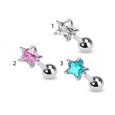 5mm Star Stud Earrings (5mm Star CZ Prong Tragus Cartilage Piercing Earring Stud 16 Gauge 1/4