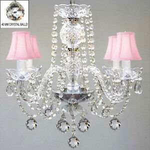 MURANO VENETIAN STYLE ALL CRYSTAL CHANDELIER W/ CRYSTAL BALLS AND PINK SHADES!