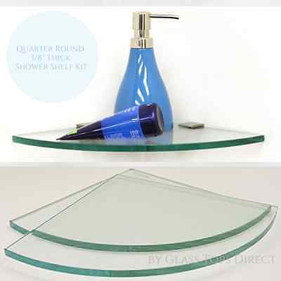 Glass Corner Shower Shelf Kit - Quarter Rounded- With Square Mounting Clamps - Glass Corner Shelf Kit