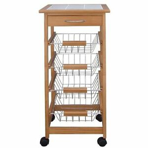 Wooden Kitchen Trolley Cart With Baskets Drawer Tile Top Chopping Board Ebay