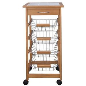 Home Wooden Pine Tile Top Kitchen Storage Trolley Unit