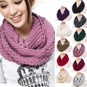 New-Women-Girls-Knitted-Long-Wool-Circle-Scarf-Shawl-Wrap-Neck-Warmer