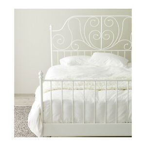 LEIRVIK Double/Full Bed frame, white with Luroy slats. NEW