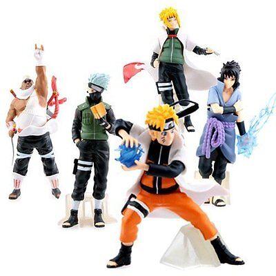 "5pcs J-Anime Naruto 4"" Figures Set: Sasuke Uzumaki Kakashi Killer Bee Minato NEW"