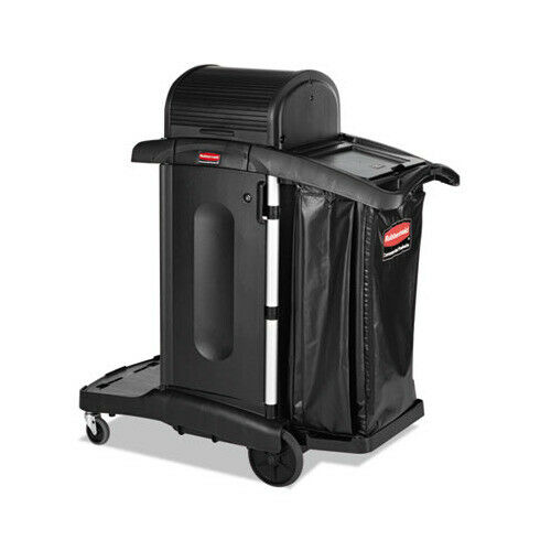 Rubbermaid Executive High Security Janitorial Housekeeping Cart Black, 1861427