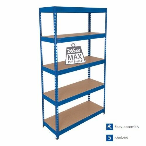 Industrial Racking 5 Tier Boltless Garage Racking Blue