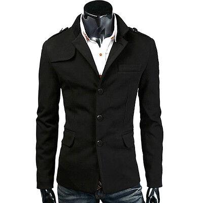 Mens TOP DESIGN Pea Coat Double Breasted Warm Long Jacket Coat ...