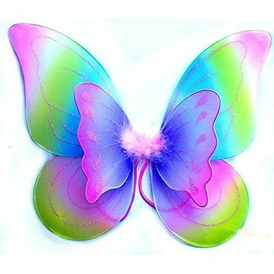 Double Layer Rainbow Butterfly Fairy Wings Tinkerbell Kids Costume Accessory