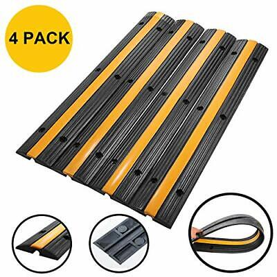 Rubber Cable Protector Ramp 18000lbs Wire Cover Hose Track Wires Concealer 4pk