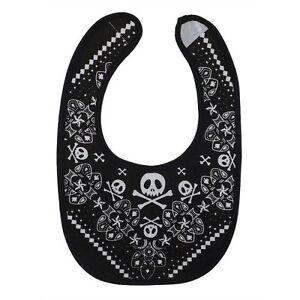 Metallimonsters black skull bib alternative goth punk rock metal biker baby