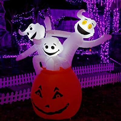 Halloween Inflatable Ghosts with Pumpkin, Blow up Lighted Ghost Decoration