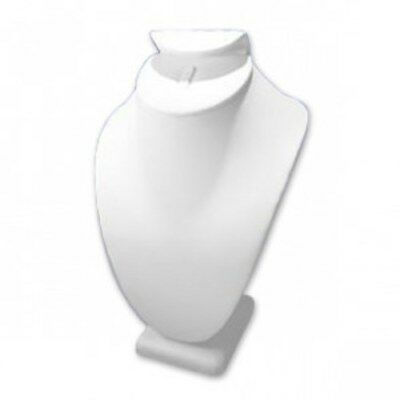 White Leatherette Necklaceringearring Display 12pcs. - Wholesale Liquidation