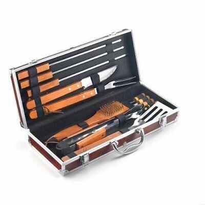 Kit accessori barbecue da 12 pezzi in acciaio inox e manico in legno massello.