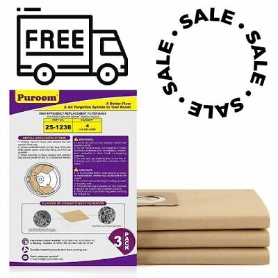 3 Pack Vacuum Filter Bags compatible with Stanley and Porter-Cable 4 Gallon